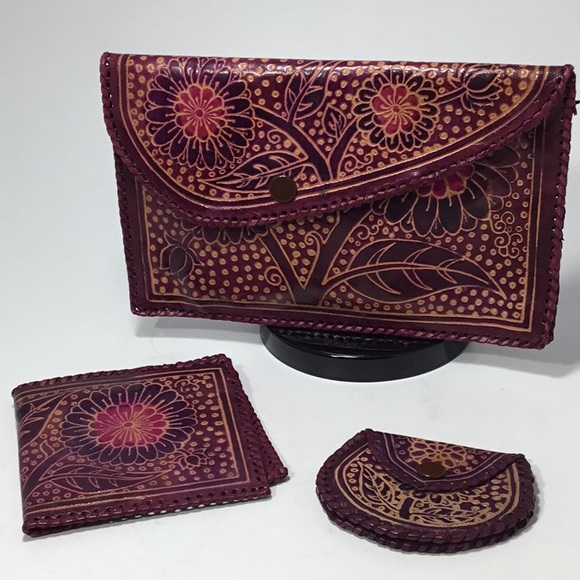 Vintage 90s Beaded Circle Design WalletCoin Pouch
